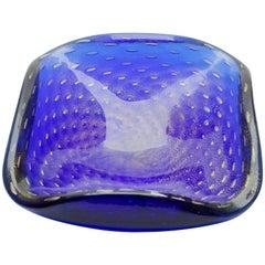 Ercole Barovier Toso Murano Dark Cobalt Blue Gold Flecks Italian Art Glass Bowl