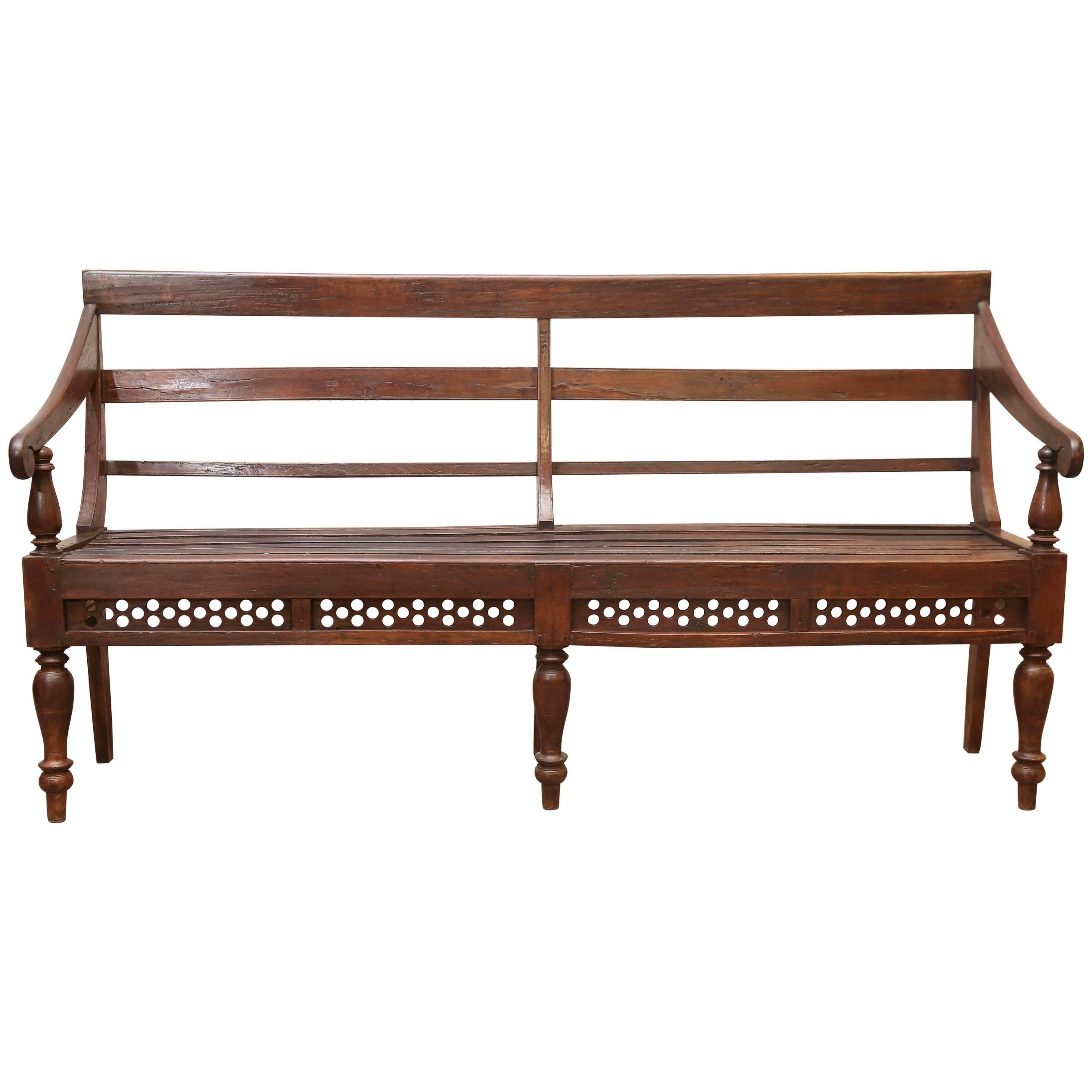Beau 1910s Solid Teakwood British Colonial Office Bench From A Rail Road Office  For Sale