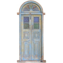 200 Year Old Solid Teak Wood and Sculptured Glass Window from a Cathedral