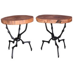 Pair of Side Tables with Three Inch Thick Hardwood Top and Castiron Stand