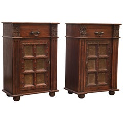 Pair of Superbly Hand Crafted  Mid Century Solid Teak Wood Night Stands