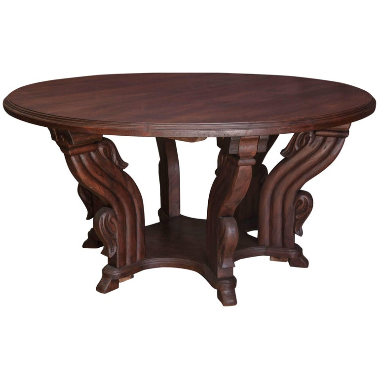1920s Solid Teak Wood Round Breakfast Table from a Himalayan Valley Plantion