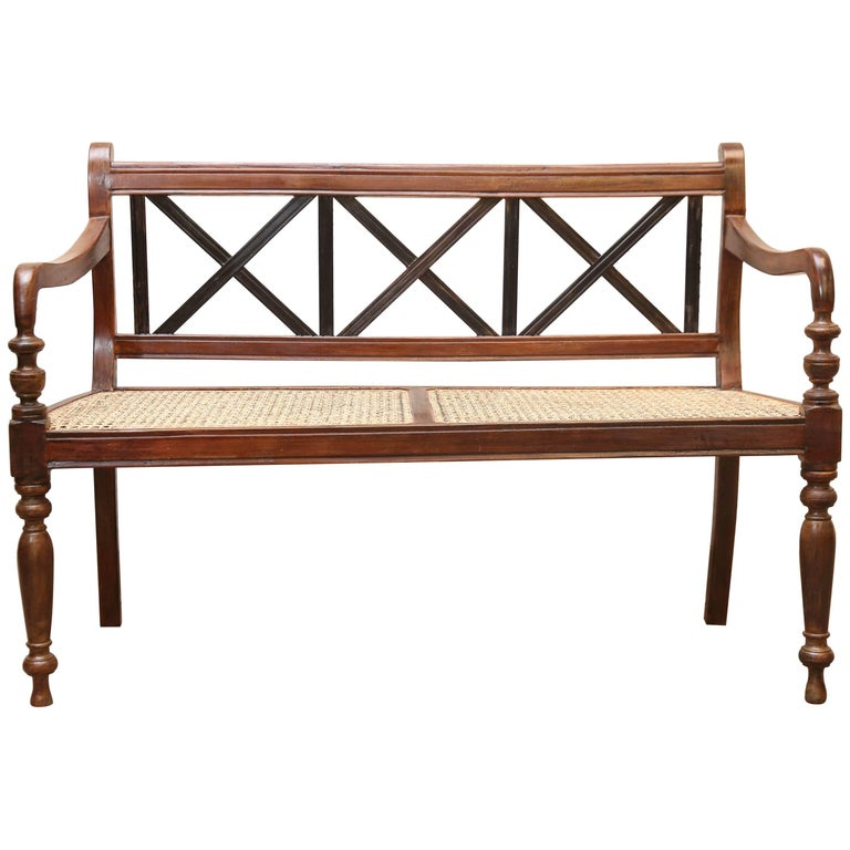1920's Finely Crafted Dutch Colonial Teak Wood and Cane Bench from Sri Lanka