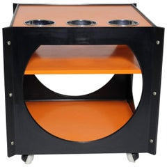 Mid Century Modern Orange and Black Bar Cart, Germany, 1960s
