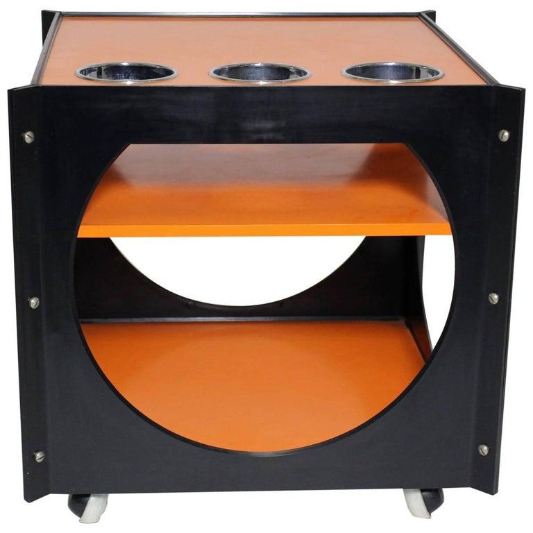 Space Age  Orange and Black Vintage Plastic Bar Cart, Germany, 1960s For Sale