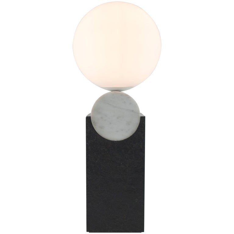 Contemporary Monument Lamp Circle in Carrara Marble, Solid Steel and Glass