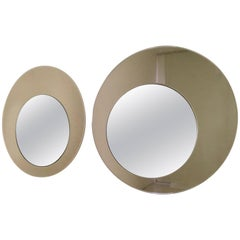 Pair of Round Wall Mirrors by Rimadesio with a Bronze Mirrored Frame, 1970s