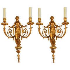 Wonderful Pair of French Doré Bronze Female Maiden Floral Garlands Swag Sconces