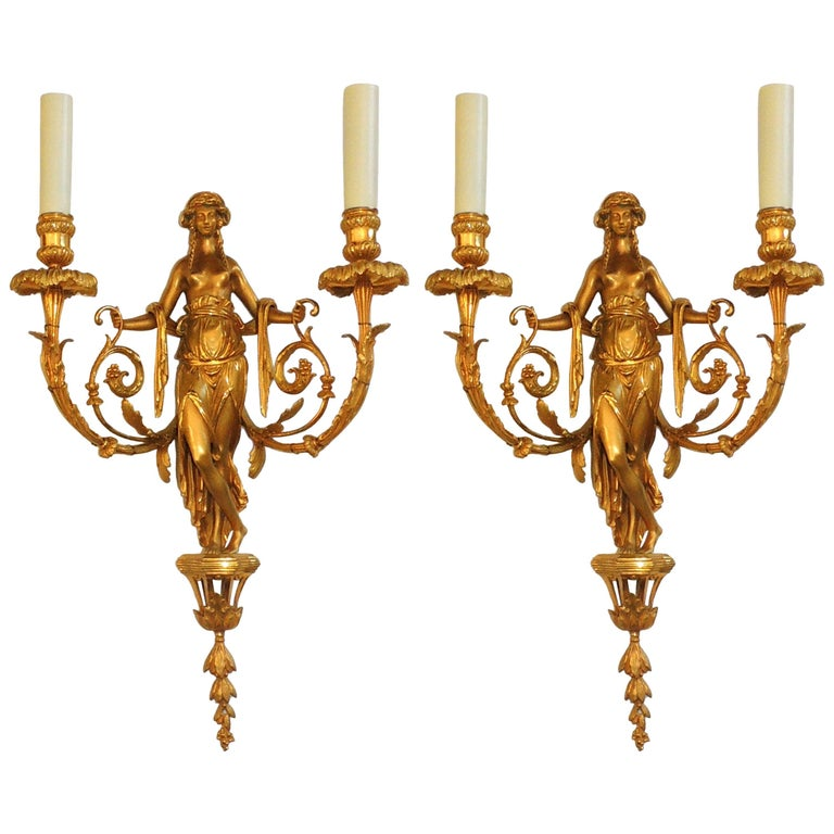 Wonderful Pair of French Doré Bronze Female Maiden Floral Garlands Swag Sconces For Sale