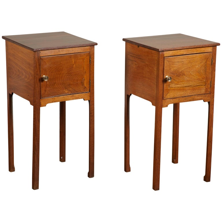 Pair of 19th C. English George III Walnut Side Tables