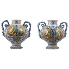 Sienne, Pair of Vases in Faïence Dated 1661, Italy