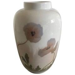 Royal Copenhagen Art Nouveau Vase with Pink Flowers #135/18