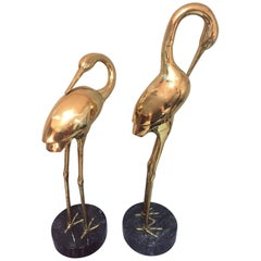 Mid-20th Century French Brass Heron Couple on a Marble Base