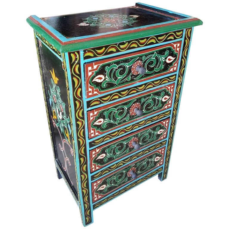 Moroccan hand painted wooden nightstand marrakech for for Moroccan hand painted furniture
