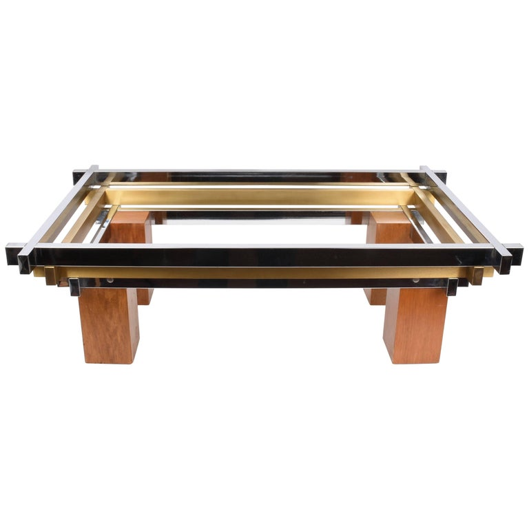 Coffee Table Chrome Brass And Wood Attributed To Nucci Valsecchi Italy 1970s For Sale At 1stdibs