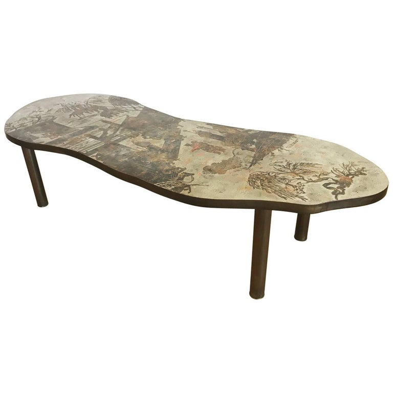Free-Form Chinoiserie Coffee Table by Kelvin and Philip Laverne For Sale