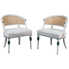 Pair of Early 19th Century Swedish Gustavian Barrel Back Armchairs
