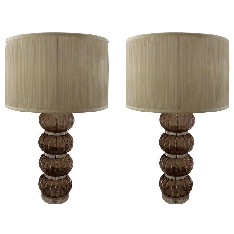 Wonderful Mid-Century Modern Pair of Italian Venetian Lucite Murano Glass Lamps
