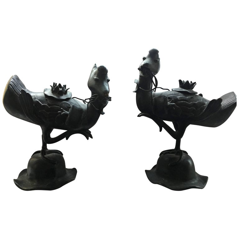 Pair of Qing Bronze Duck Incense Burner Statues on Wooden Stands