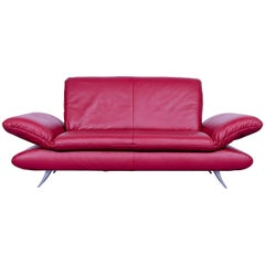 Koinor Rossini Designer Two-Seat Sofa Leather Red Function Modern Two-Seat