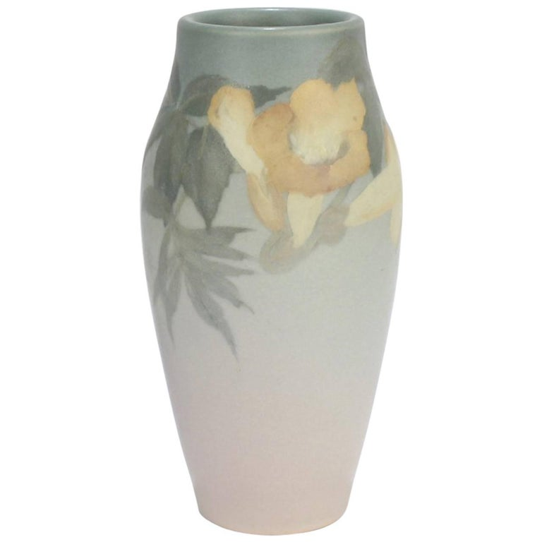 1904 Rookwood Arts & Crafts Pottery Vellum Vase by Ed Diers with Trumpet Flowers