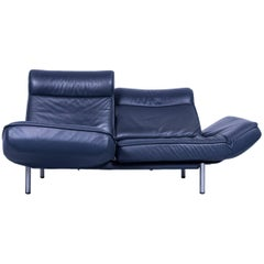 De Sede Ds 450 Designer Leather Sofa Night Blue Relax Function Two-Seat Modern