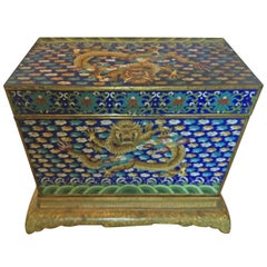 Chinese Cloisonné Dragon Box with Stand