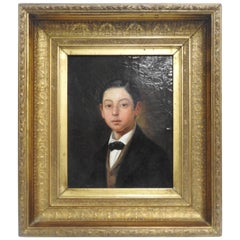 Victorian Oil on Canvas Portrait of Young Man in Gilt Frame