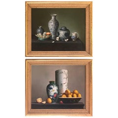 Pair of Diminutive Still Life Continental Oil Paintings on Board