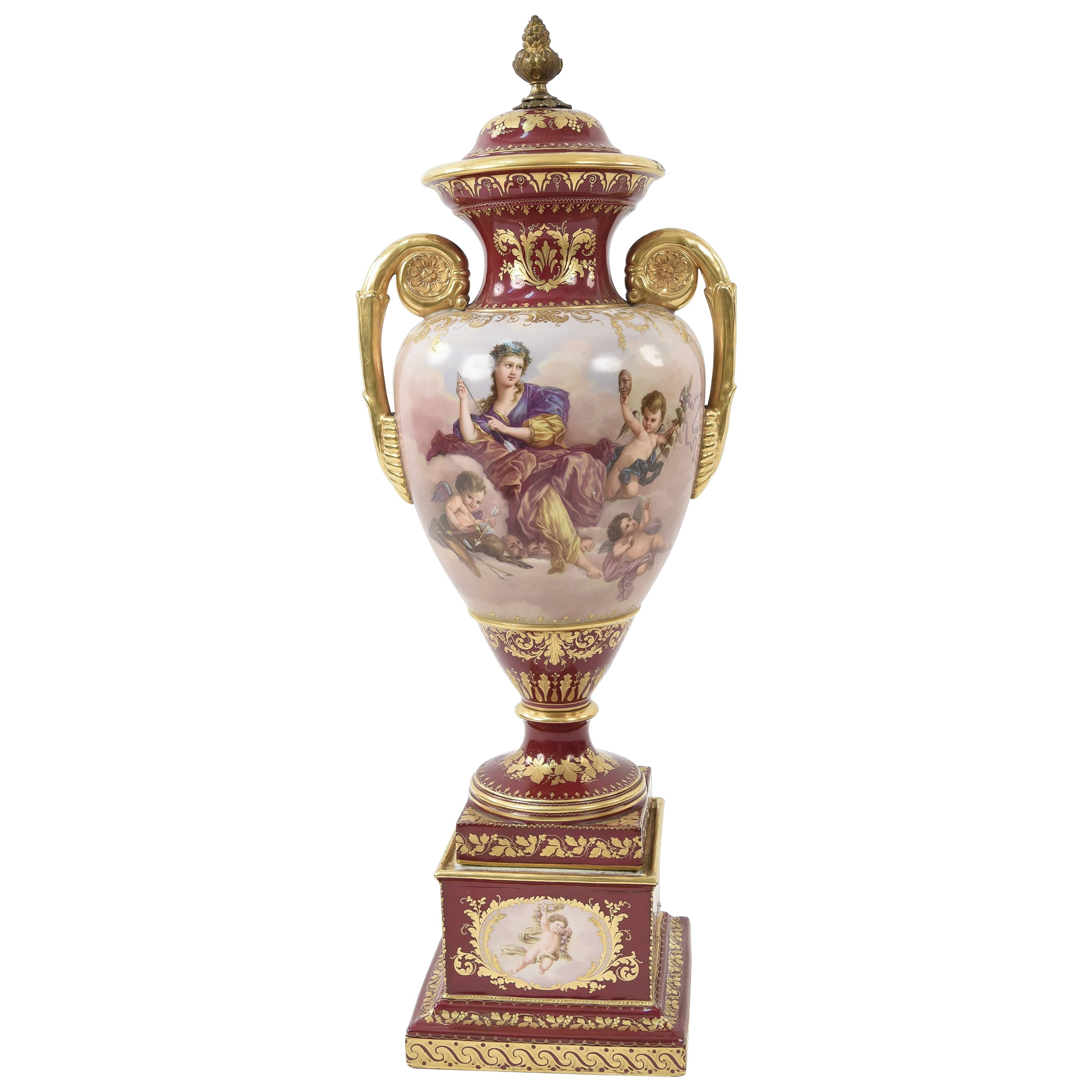 Royal Vienna Scenic Painted Lidded Urn