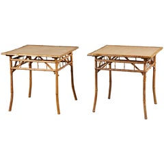 Pair of 20th C. Square Bamboo Danish Side Tables