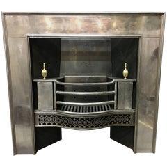 Antique Georgian Cast Iron And Brass Register Grate Fireplace Insert.