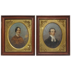 Early 20th Century Lady and Gentleman Oil on Board Set of Two Framed Paintings