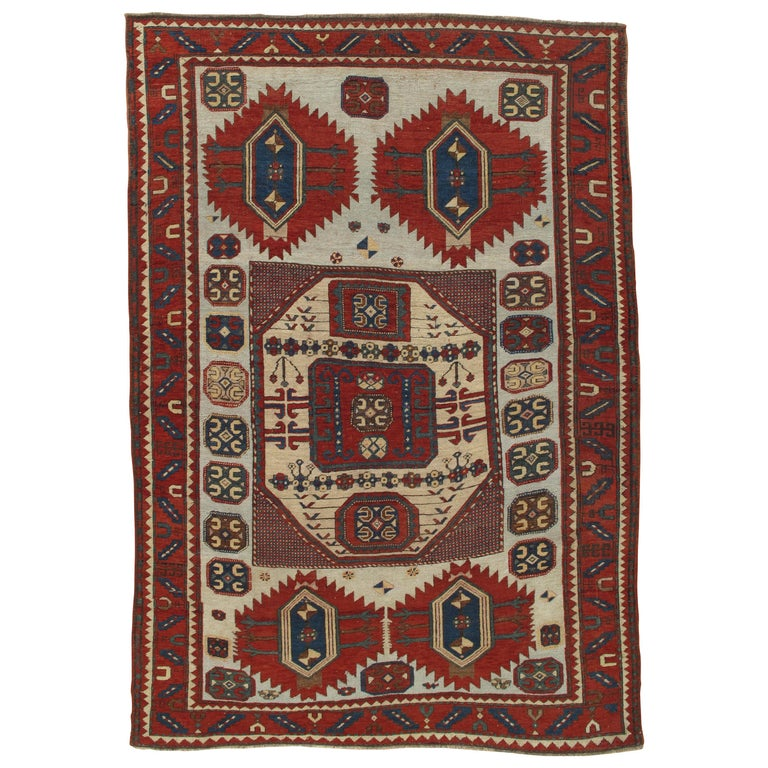 Antique Karachov Kazak Carpet, Handmade Wool, Pale Blue, Rust, Ivory, Geometric