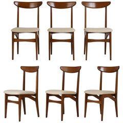 Set of Six Danish Teak Wood Dining Chairs