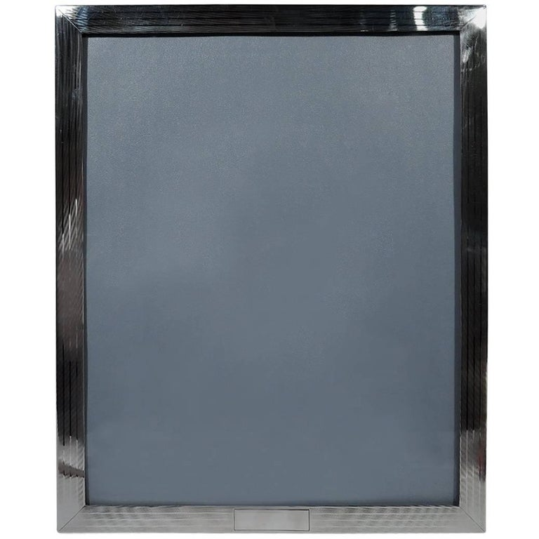 Large American Modern Sterling Silver Picture Frame by JE Caldwell For Sale