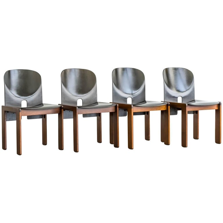 "Set of Four Aniline-Dyed ""Mod. 121"" Chairs by Afra & Tobia Scarpa for Cassina"