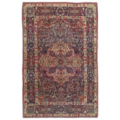 Antique Tehran Rug, Wool Handmade Oriental Rug, Ivory, Red, Soft Blue, Red