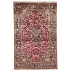 Persian Silk Kashan Carpet, Handmade Oriental Rug, circa 1920