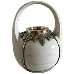 Royal Copenhagen Art Nouveau Vase with a Michelsen Sterling Silver Mounting 1911