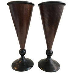 19th Century Pair of Walnut Vases