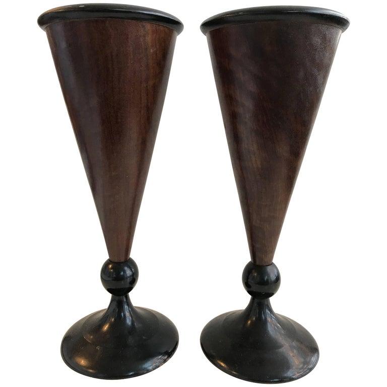 19th Century Pair of Walnut Vases
