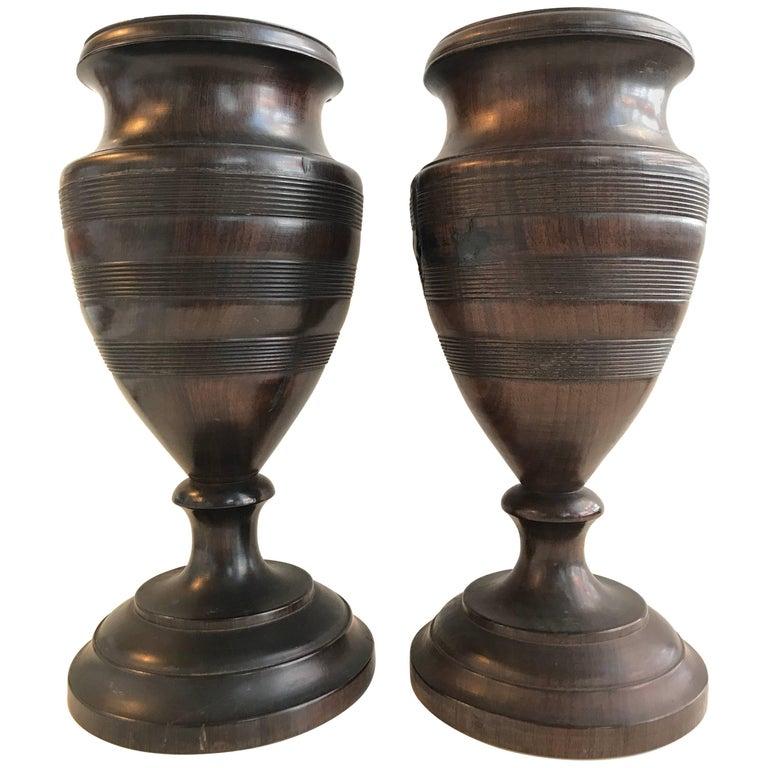 19th Century Pair of Turned Walnut Vases