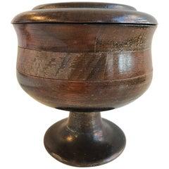 19th Century Turned Oak Lidded Urn