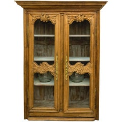 Hand-Carved Stripped Oak Regency Armoire with Chicken Wire Front