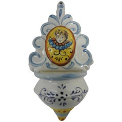 20th Century Hand Painted Ceramic Holy Water Font