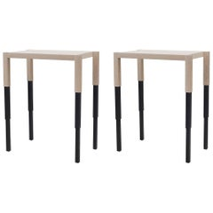 Oak Chicago Side Tables or Console, Special Edition Siamese Finish