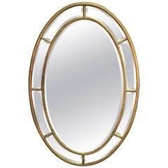Huge Georgian Style Oval Water Giltwood Mirror, after Robert Adam