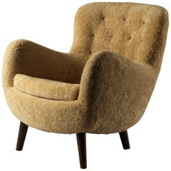 Frits Schlegel 'Attributed', Organic Lounge Chair, Natural Beige Lambskin, 1940s