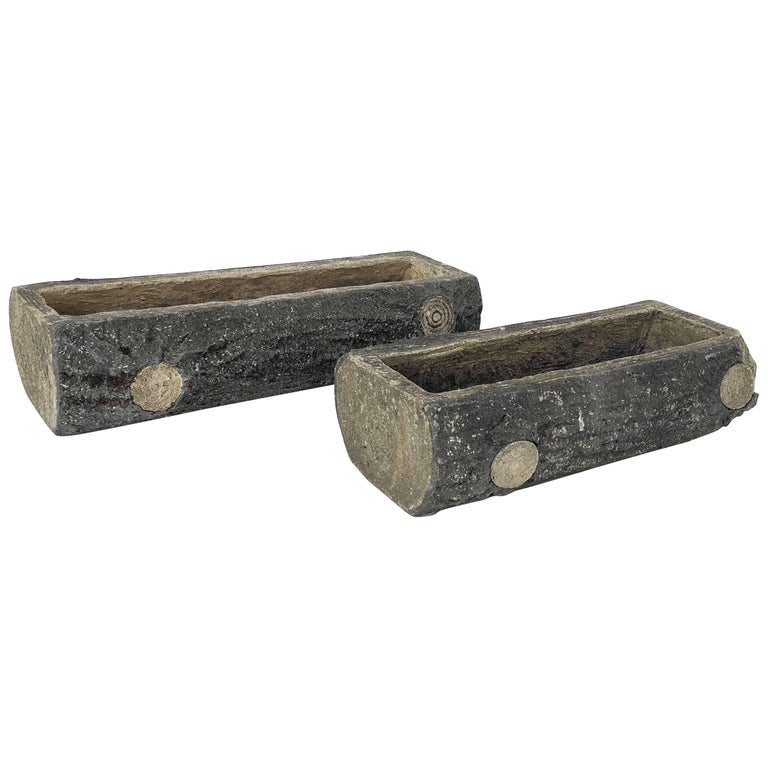 Pair of English Garden Stone Faux Bois Log Planters (Individually Priced)